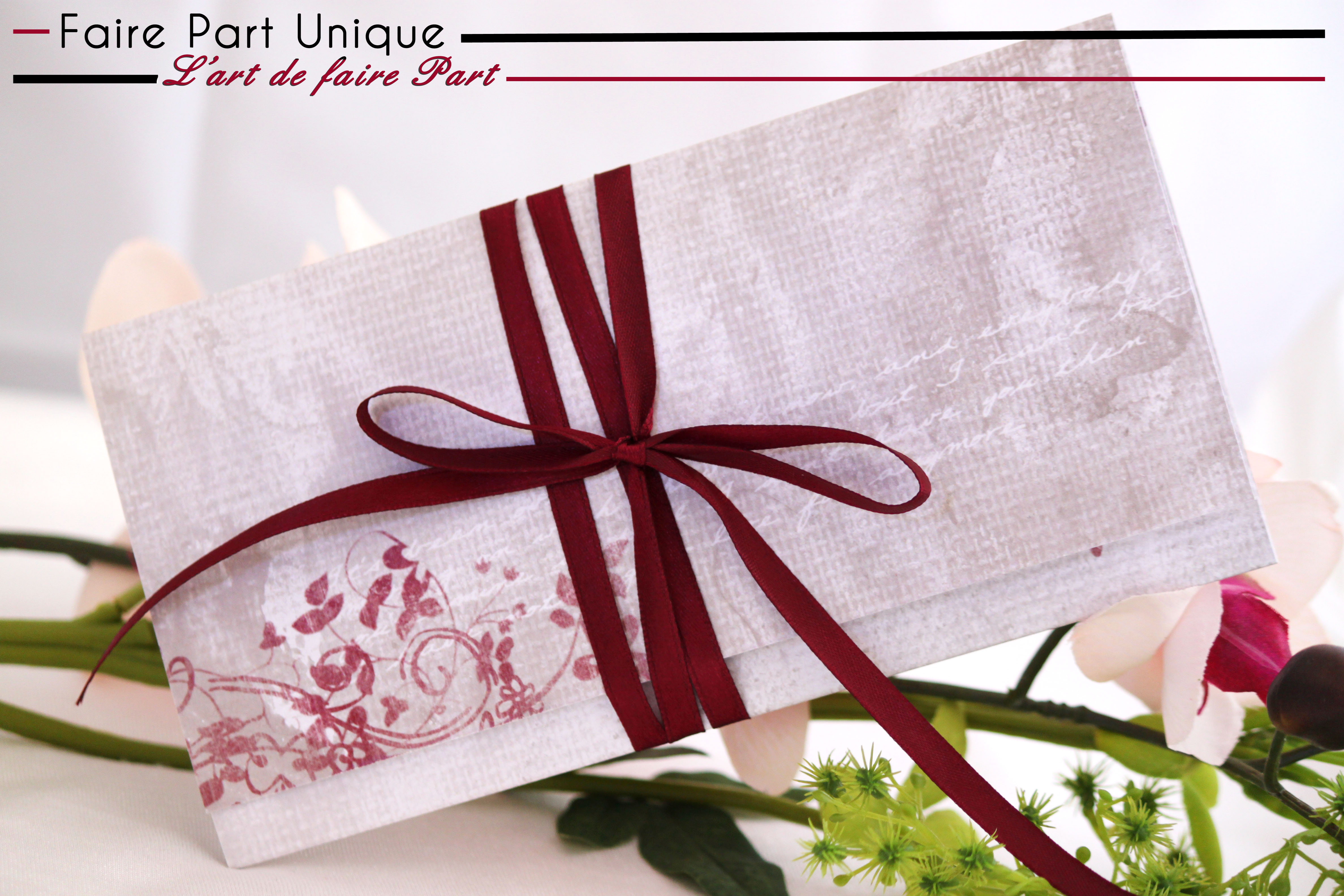 Echantillon Pli Romantique Fleuri Bordeaux